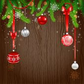 Merry Christmas design on wood background. Copy space.
