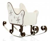 Christmas decoration in shape sled isolated on white