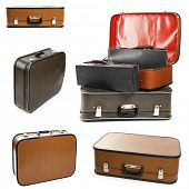 Collage of retro travel suitcases isolated on white