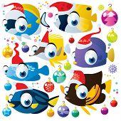 christmas decoration cartoon animal fish set isolated