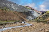 National Park Landmannalaugar in Iceland. Creek at the bottom of a picturesque gorge