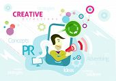 Advertising concept with words PR creative