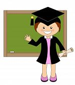 picture of white gown  - Cartoon girl in cap and gown graduate in front of school board  - JPG