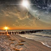 stock photo of fantasy world  - Beautiful beach planet landscape from another world - JPG