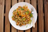 stock photo of brussels sprouts  - Fried rice with carrot and brussel sprouts in white plate top view - JPG