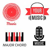 Set of four music logotypes (record,microphone,piano,headphones) poster