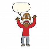 foto of angry man  - cartoon angry old man with speech bubble - JPG