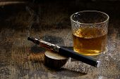 stock photo of e-cig  - vintage still life with e - JPG