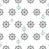 picture of rudder  - Seamless pattern with gray rudders and blue anchors - JPG