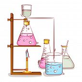 picture of beaker  - Lab experiment objects consist of beaker and flasks with chemical on grey background - JPG