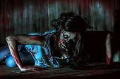 image of bloody  - Furious bloody zombie girl - JPG