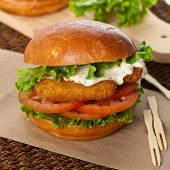 picture of lent  - Delicious Homemade Breaded Fish burger - JPG