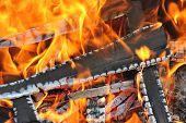 stock photo of ember  - Burning down fire - JPG
