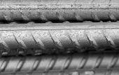 foto of reinforcing  - Close up of Reinforcing steel bar for construction - JPG