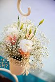 stock photo of wedding table decor  - wedding decor at restaurant with all beauty and flowers - JPG