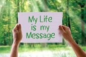 stock photo of gandhi  - My Life is My Message card with nature background - JPG