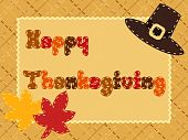 Quilted Thanksgiving postcard with a pilgrim hat