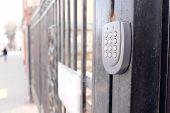 image of lock  - Closeup apartment security lock - JPG