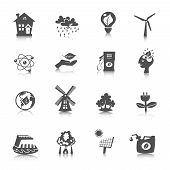 stock photo of wind energy  - Eco energy black icons set with wind solar water electric technologies isolated vector illustration - JPG