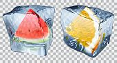 picture of watermelon slices  - Two transparent ice cubes with frozen slices of watermelon and orange - JPG