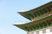 picture of seoul south korea  - Gyeongbokgung Palace with blue sky in Seoul South Korea - JPG