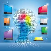 stock photo of maze  - Human maze head with digital screen connection - JPG