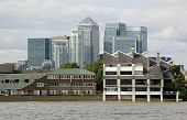 Canary Wharf viewed from the Thames at Poplar