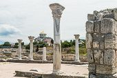 pic of sevastopol  - Ancient Greek basilica and marble columns in Chersonesus Taurica - JPG