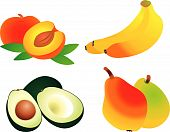stock photo of healthy food  - Set of fruit vectors - JPG