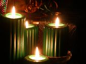 Green candles in a group