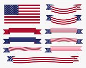 stock photo of usa flag  - Set of american USA flag banners and ribbons patriotic design elements - JPG