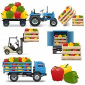 pic of truck farm  - Agricultural Icons Set 4 including tractor - JPG