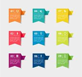 stock photo of prospectus  - Vector paper flag stickers and labels with realistic shadows for infographic set - JPG