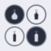 image of vodka  - 4 alcohol bottles icons shows off different bottles shapes like a vodka and a beer. Pictured here from left to right -  cognac whiskey wine vodka. - JPG