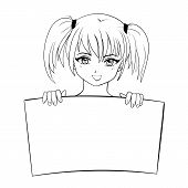 image of ponytail  - vector sketch illustration of smiling girl with ponytails holding text board - JPG