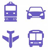stock photo of railroad car  - transport icon set with train - JPG