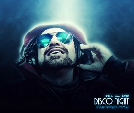 image of disc jockey  - Glowing suggestive Club Flyer Featuring a DJ listening to music  - JPG