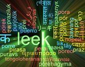 stock photo of leek  - Background concept wordcloud multilanguage international many language illustration of leek glowing light - JPG
