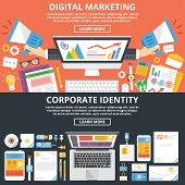 Постер, плакат: Digital marketing corporate identity flat illustration concepts set