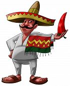 image of jalapeno  - a traditional mexican with a sombrero and a big jalapeno - JPG