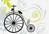vintage two wheeled bike with flourish