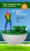 Golfer Standing On Half Golf Ball. Golf Ticket Vertical Brochure Template poster