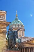Russia. St.-Petersburg. A monument to Barclay de Tolli at the Kazan Cathedral in city center.