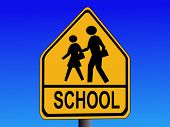 American warning school road sign illustration on blue