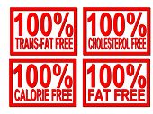 100% trans-fat, cholesterol, fat, calorie  free on white background
