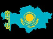 map of kazakhstan and kazakhstanian flag illustration