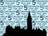 Canadian Parliament Ottawa against five dollar bill