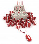 3D rendering of a three tiered cake with candles surrounded by gift boxes connected to a computer mo