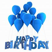 3D rendering of a group of balloons with the words happy birthday hanging from the strings in blue s