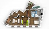 3D rendering of a roofless architecture model showing an apartment interior fully furnished